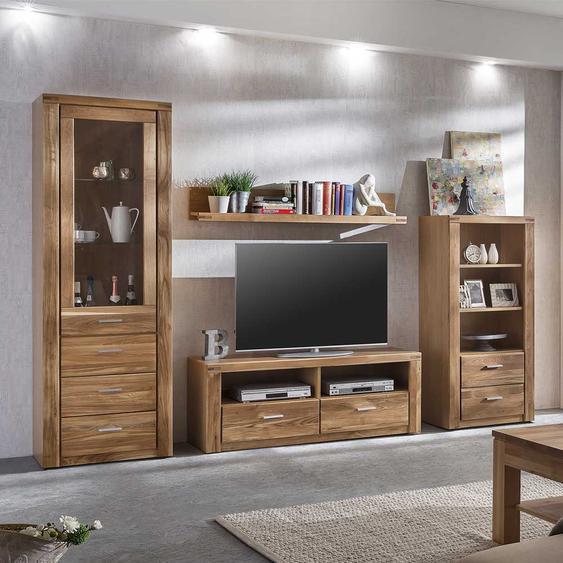 Holz Wohnwand aus Wildeiche geölt 200 cm hoch (4-teilig)