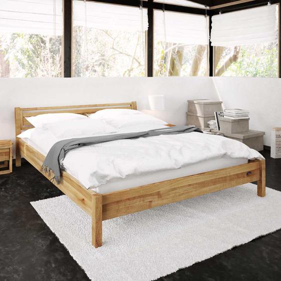 Holzbett aus Wildeiche massiv geölt