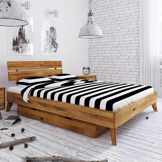 Holzbett aus Wildeiche massiv geölt Schubladen