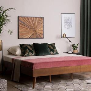 Holzbett dunkelbraun Lattenrost 180 x 200 cm BERRIC
