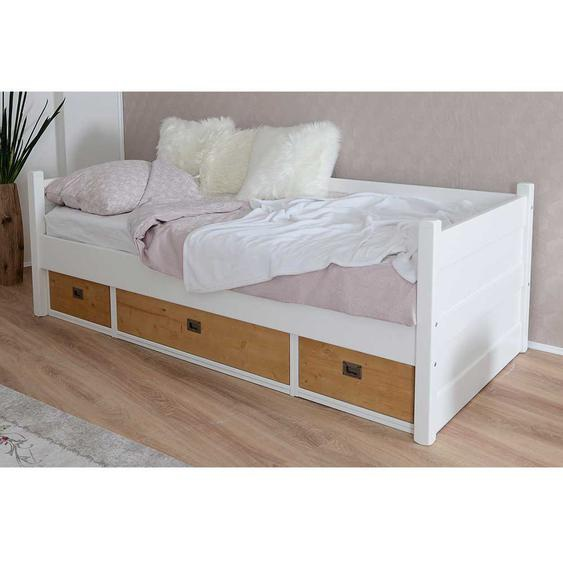 Holzbett in Weiß und Eichefarben Bettschubkasten