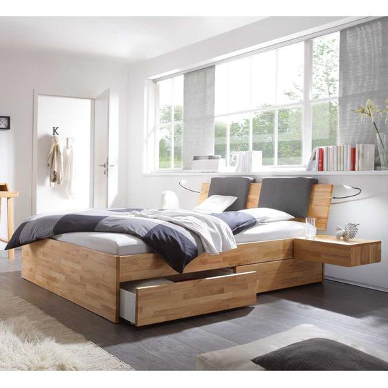 Holzbett mit Klemmkissen in Schwarz Kernbuche Massivholz