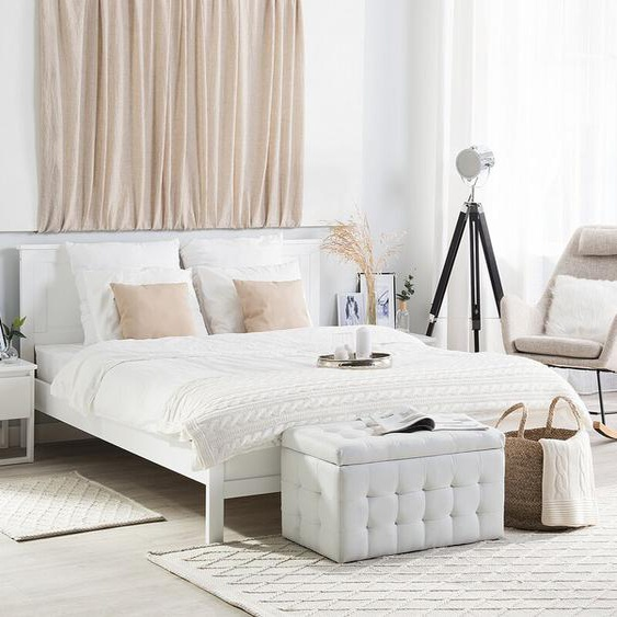 Holzbett weiß Lattenrost 160 x 200 cm OLIVET
