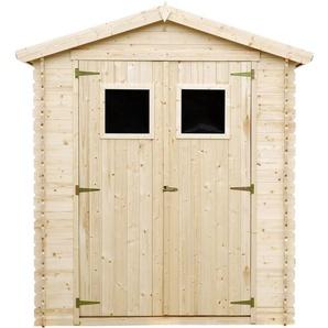 Holzhaus Gartenhaus TIMBELA M367 - Gartenschuppen Holz B196xL136xH218 cm/ 1.98 m2 Lagerschuppen für Garten - Fahrrad Schuppen - Wasserfestes Dach