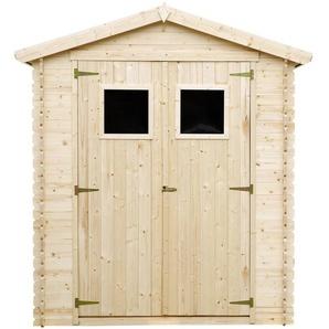 Holzhaus Gartenhaus TIMBELA M367+M367G - Gartenschuppen Holz mit Boden Imprägnierte B196xL136xH218 cm/ 1.98 m2 Lagerschuppen für Garten - Fahrrad Schuppen - Wasserfestes Dach