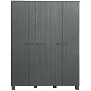 Holzkleiderschrank in dunkel Grau Kiefer Massivholz