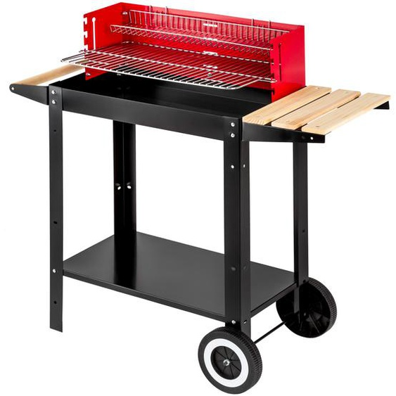 Holzkohlegrill Grillwagen - schwarz/rot