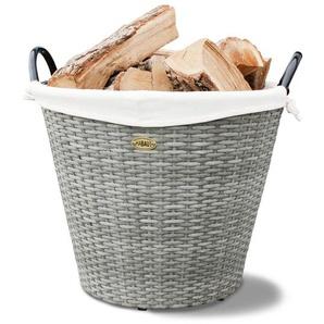 Holzkorb aus Kunststoff und Eisen
