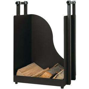 Holzkorb Holzkiste Kaminzubehör Aus Metall - Schwarz Beschichtet -