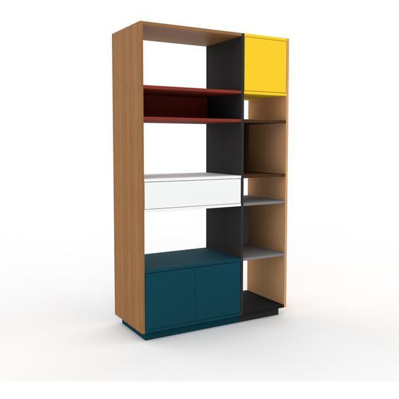 Holzregal Blaugrün - Modernes Regal aus Holz: Schubladen in Weiß & Türen in Blaugrün - 116 x 200 x 47 cm, Personalisierbar