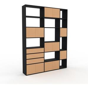 Holzregal Schwarz - Modernes Regal aus Holz: Schubladen in Buche & Türen in Buche - 190 x 253 x 35 cm, Personalisierbar