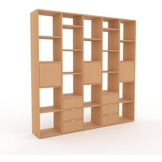 Holzregal Buche - Modernes Regal aus Holz: Schubladen in Buche & Türen in Buche - 195 x 195 x 35 cm, Personalisierbar