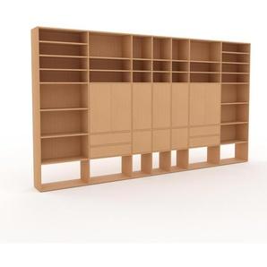 Holzregal Buche - Modernes Regal aus Holz: Schubladen in Buche & Türen in Buche - 416 x 233 x 35 cm, Personalisierbar