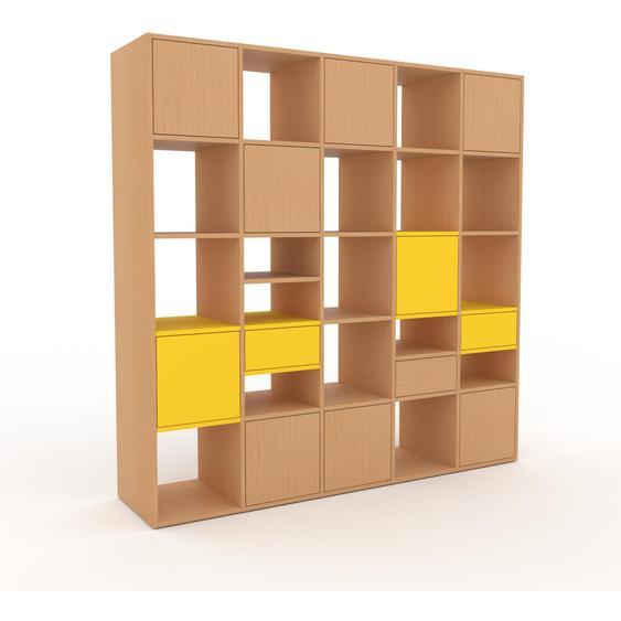 Holzregal Buche - Modernes Regal aus Holz: Schubladen in Gelb & Türen in Buche - 195 x 195 x 47 cm, Personalisierbar