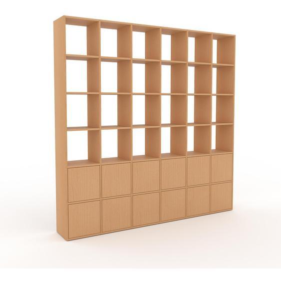 Holzregal Buche - Skandinavisches Regal aus Holz: Türen in Buche - 233 x 233 x 35 cm, Personalisierbar