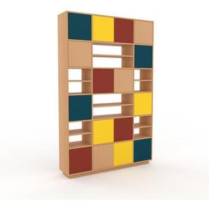 Holzregal Buche - Skandinavisches Regal aus Holz: Türen in Rot - 154 x 239 x 35 cm, Personalisierbar