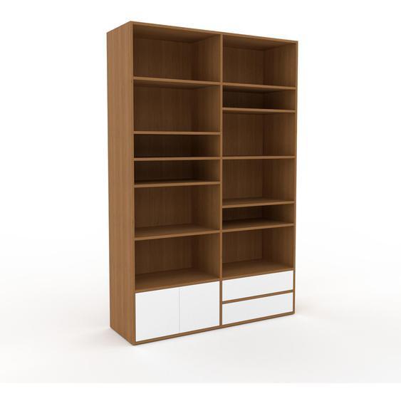 Holzregal Eiche - Modernes Regal aus Holz: Schubladen in Weiß & Türen in Weiß - 152 x 233 x 47 cm, Personalisierbar