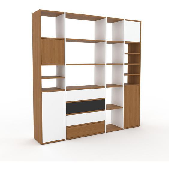Holzregal Eiche - Modernes Regal aus Holz: Schubladen in Weiß & Türen in Weiß - 193 x 195 x 35 cm, Personalisierbar
