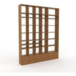 Holzregal Eiche - Skandinavisches Regal aus Holz: Schubladen in Eiche - 231 x 291 x 35 cm, Personalisierbar