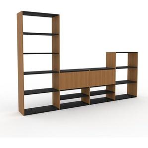 Holzregal Eiche - Skandinavisches Regal aus Holz: Türen in Eiche - 301 x 195 x 35 cm, Personalisierbar