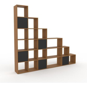 Holzregal Eiche - Skandinavisches Regal aus Holz: Türen in Anthrazit - 270 x 233 x 35 cm, Personalisierbar