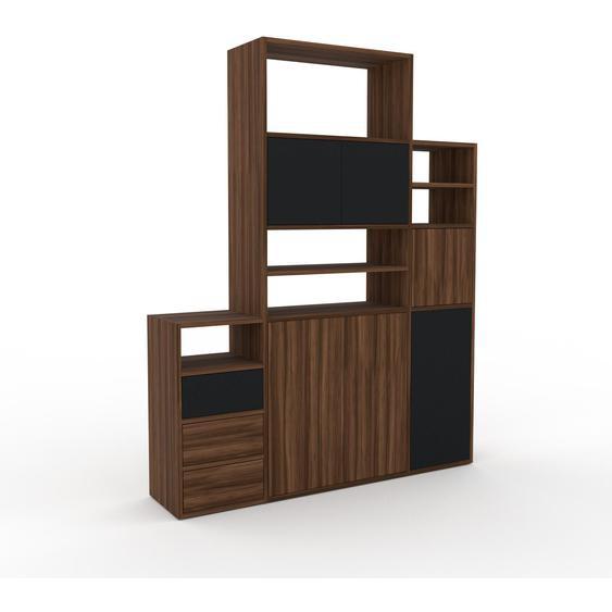 Holzregal Nussbaum - Modernes Regal aus Holz: Schubladen in Nussbaum & Türen in Nussbaum - 154 x 195 x 35 cm, Personalisierbar