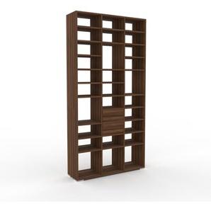 Holzregal Nussbaum - Skandinavisches Regal aus Holz: Schubladen in Nussbaum - 118 x 235 x 35 cm, Personalisierbar