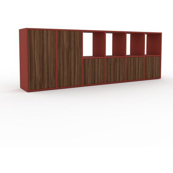 Holzregal Nussbaum - Skandinavisches Regal aus Holz: Türen in Nussbaum - 233 x 80 x 35 cm, Personalisierbar