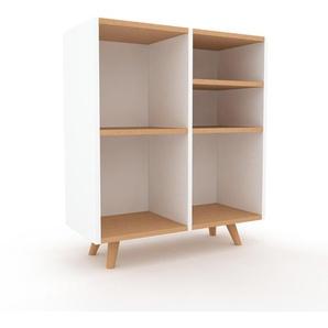 Holzregal Weiß - Skandinavisches Regal aus Holz: Hochwertige Qualität, einzigartiges Design - 79 x 91 x 35 cm, Personalisierbar