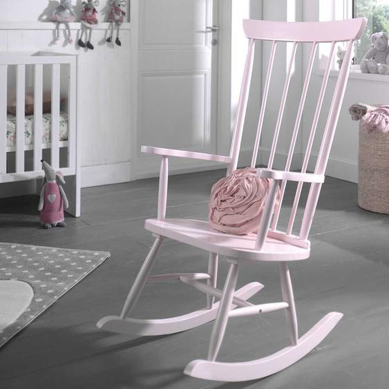 Holzschaukelstuhl in Rosa Retro Design