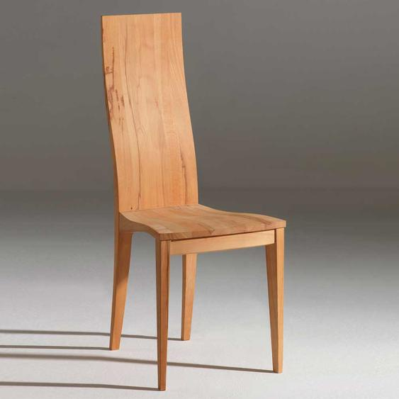 Holzstuhl aus Kernbuche Massivholz mit hoher Lehne (2er Set)