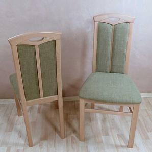 Holzstuhl Set aus Buche Massivholz Gr�n Stoff (2er Set)