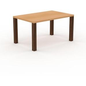 Holztisch Massivholz Buche, zertifiziertes Holz - Eleganter Esstisch, Massivholztisch: Einzigartiges Design - 140 x 76 x 90 cm, konfigurierbar