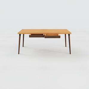 Holztisch Massivholz Eiche - Eleganter Massivholztisch: mit 2 Schublade/n - Hochwertige Materialien - 180 x 75 x 90 cm, konfigurierbar
