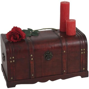 Holztruhe Holzbox Schatztruhe Valence Antikoptik 39x67x38cm ~ rund