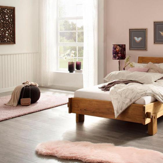 Holzzone Massivholzbett Clare 140x200 cm beige Massivholzbetten Betten