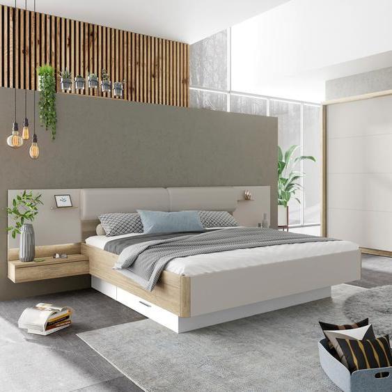 Holzzone Schlafzimmer-Set Capri Einheitsgröße beige Komplett Schlafzimmer Betten Schlafzimmermöbel-Sets