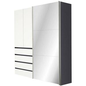 Hom`in: Kleiderschrank, Holzwerkstoff, Graphit, Weiß, B/H/T 200 216 68