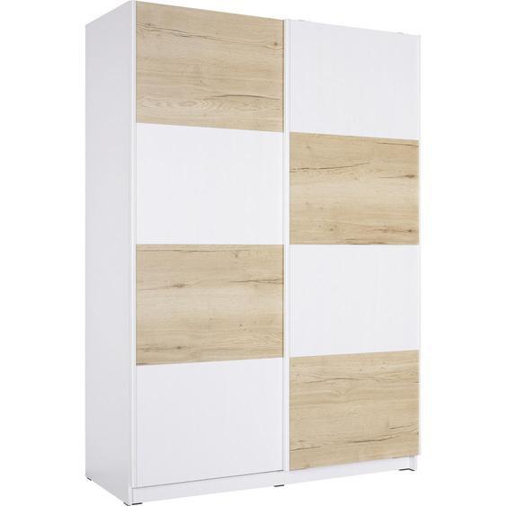 Hom`in Schwebetürenschrank , Weiß, Braun , Holzwerkstoff , 2 Fächer , 150x213x62 cm