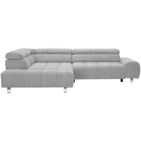 Hom`in Wohnlandschaft Grau Webstoff , Textil , 4-Sitzer , 201 cm