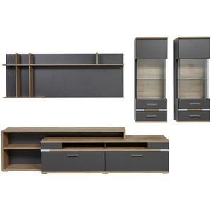 Hom`in: Wohnwand, Glas, Holzwerkstoff, Graphit, Eiche, B/H/T 310 190,1 50