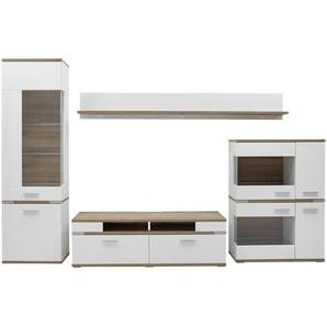 Hom`in: Wohnwand, Glas, Holzwerkstoff, Weiß, Eiche, B/