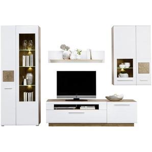Hom`in: Wohnwand, Glas, Holzwerkstoff, Weiß, Eiche, B/H/T 300 202 46