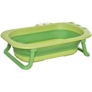 HOMCOM Baby-Badewanne im Krokodil-Design Grün 80 cm x 53,9 cm x 20,8 cm