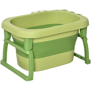 HOMCOM Babybadewanne mit Hocker für Kinder Grün