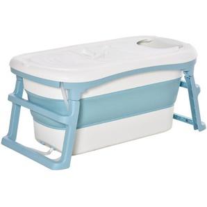 HOMCOM Faltbare Baby-Badewanne Blau Weiß 114 cm x 60,4 cm x 53 cm