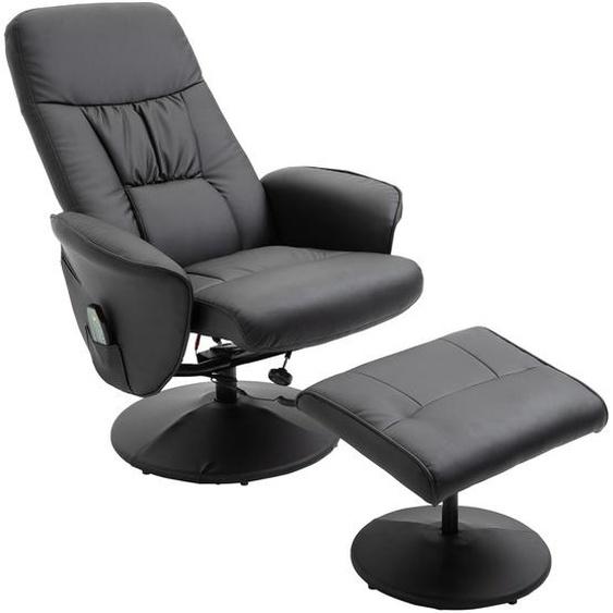 HOMCOM Massagesessel mit Fußhocker | Heizfunktion | 135° Neigung | 81 x 81 x 105 cm | Schwarz