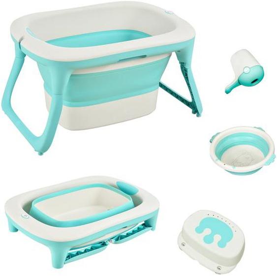 HOMCOM® Babybadewanne mit 4 Teilen Babywanne Badewanne Kunststoff Grün