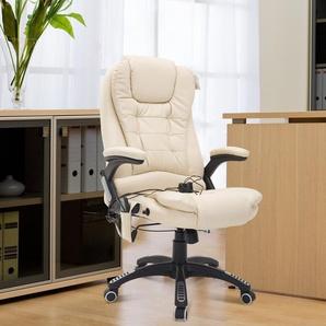 HOMCOM® Büro Massagestuhl | Eco-Leder, PVC | Wärmefunktion | 62 x 68 x 111–121 cm | Creme