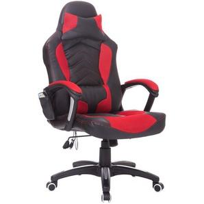 HOMCOM® Büro- und Gaming Stuhl mit Massage- und Wärmefunktion | 68 x 69 x (108-117) cm | Schwarz, Rot